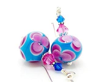 Blue Pink Earrings, Floral Earrings, Lampwork Earrings, Glass Bead Earrings, Glass Art Earrings, Glass Earrings, Glass Bead Jewelry