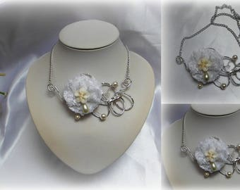 Flowers - white lace flower ceremony necklace