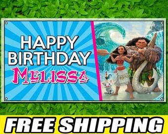 Moana Maui Printed Happy Birthday Vinyl Banner Personalized Custom Name