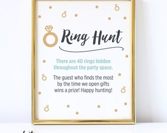 Ring Hunt Bridal Shower Game Sign | Rings & Frame Not Included