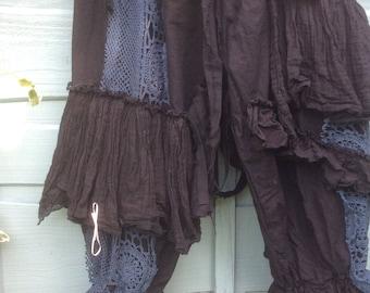OSFA Suspender pants braces black pantaloons vintage crochet hand made to order festival grunge RitaNoTiara Southern Gothic Couture boho