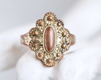 Copper Second Knuckle Ring or Pinky Finger Ring - Size 3 - Small Boho Ring