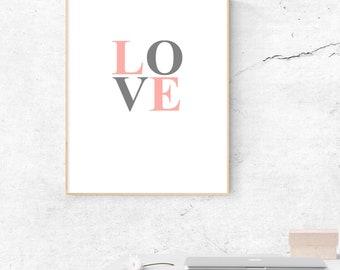 love font print - love print - love text print - love home print
