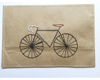 Bicycle Postcard | embroidered, embroidery, gift, card, thank you, biker life