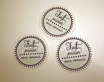"Set of 10 round 3.5 cm stickers ""handmade with love"""