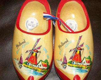 Wooden Shoes from Holland Souvenirs Schuitemaker Dutch Wooden Clogs Shoes Windmill Sailboat