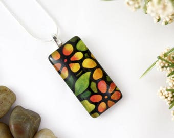 Daisy Necklace - Rectangle Gerber Daisies Necklace - Orange Daisy Glass Pendant - Stained Glass Floral Jewelry - Art Nouveau Charm