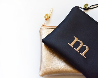Personalized Gift for Her Monogram Clutch Bridesmaid Gift Set Zipper Pouch Metallic Initial Wedding Faux Leather