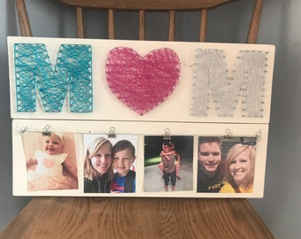 Mom string art picture display