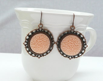 nd-Vintage Style Copper and Peach Dangle Earrings