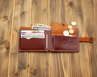 Mens custom leather wallet mens leather wallet mens wallet slim leather wallet card holder wallet dark brown leather wallet with coin pocket