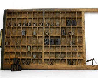 Industrial Printers Type Case Ludlow Rake Top Letterpress Tray / Essential Oil Storage