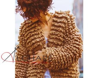 Chunky Hand Knit Coat, Women's Merino Wool Jacket, Full Length Wool Coat, Merino Wool Overcoat, Luxury Wool Jacket, Chunky Knitted Coat