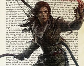 Lara Croft, Tomb Raider, printed on Vintage Paper  - dictionary art print, book prints