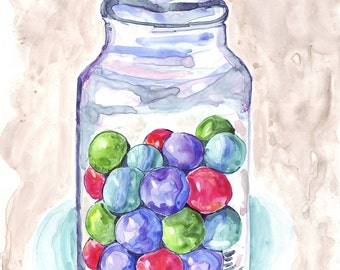 Watercolor Painting - Candy Art - Gumballs in Jar Art - Watercolor Art Print, 11x14 Wall Art, Candy Series no. 7