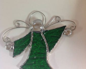Green Stained Glass Angel