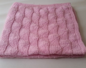 Pink Hand Knitted Baby Blanket, Knit Baby Blanket, Handmade Crib Stroller Knit  Baby Blanket, Baby Shower Gift Idea