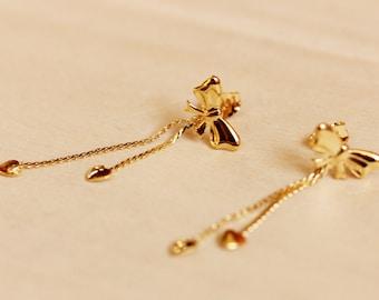 Gold Bow Chain Earrings, Bow Studs, Chain Studs, Chain Earrings