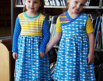 Girls Everyday Playdress, sizes 12-18mths 2T 3T 4T 5T 6 7/8 with bonus Free doll dress
