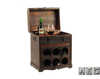 Wooden Chest wine rack for 6 bottles Colonial