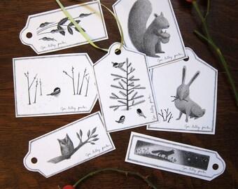 Printable Christmas Tags, Digital Christmas Gift Tags, Instant Download Christmas, Printable Tags, Woodland Animal Gift Tags