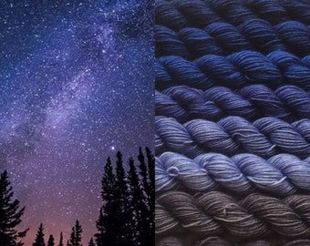 Gradient yarn set-merino extrafine, handdyed yarn 225g- hand painted dyed sock shawl ombre - Midnight sky .