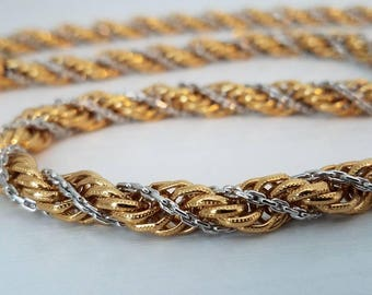 Monet Two Tone Twisted Rope Necklace 28""