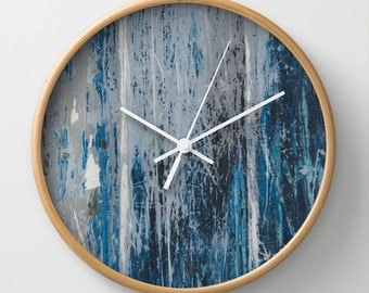 Weathered wood print wall clock, distressed photo clock, distressed paint blue beach theme wall decor