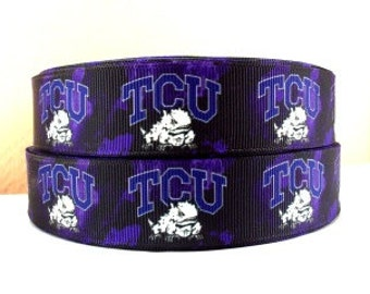 "Sale!!!   TCU Horned Frogs 1"" Grosgrain Craft Ribbon - 3 Yards"