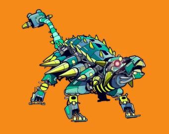 Ankylosaurus Robosaur art print 5x7