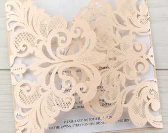 SAMPLE * Iris Laser Cut Wedding Invitation, Blush Pink with Script Font