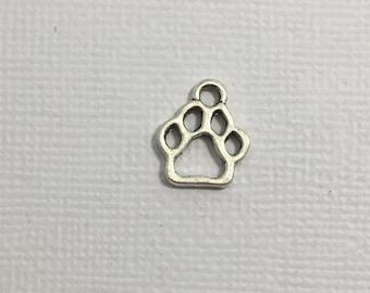 Paw Print Charm x 5 Silver Dog Doggie Puppy Pet Canine K9 #214
