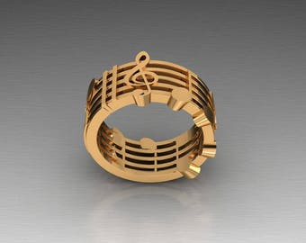 18k Gold Music Note Ring