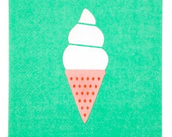 Set of 20 napkins - ice cream summer beach party napkins - summer, sunnylife