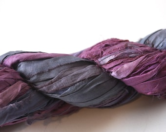 Hand Dyed Double Colour Recycled Sari Silk Ribbon - 'Dusk'