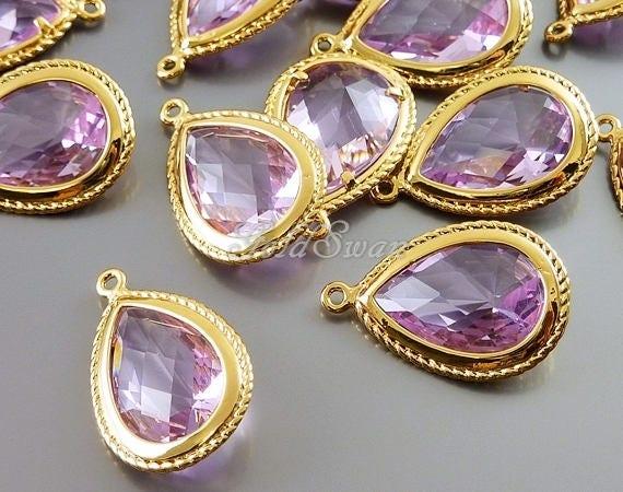2 lavender purple colored glass stones long faceted teardrop