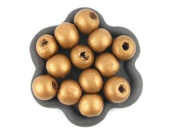 x 50 gilt wood 10mm round beads
