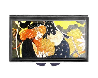 Pill Case Red Headed Girl with Mirror pill box 3 sections  Art Nouveau vintage art french Wife Gift