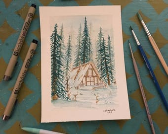 Snowy Cabin in the Woods- Original Painting