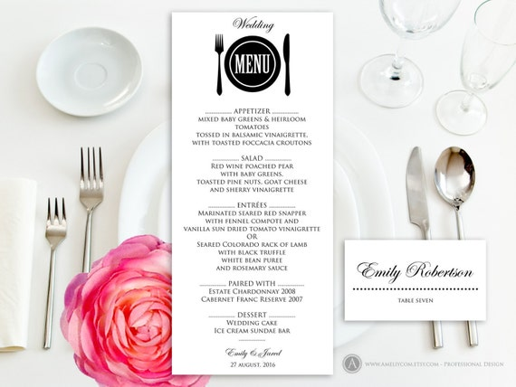 Printable Wedding Menu Free Place Card Template Instant - Wedding place card templates free download
