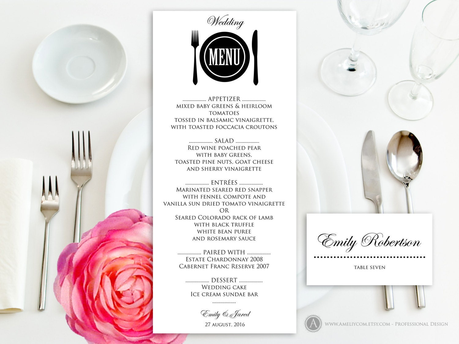 Printable Wedding Menu Free Place Card Template Instant - Placement card template