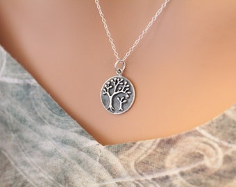 Sterling Silver Mom and Baby Tree Charm Necklace, Mama and Baby Tree Pendant Necklace, Mother and Child Tree Charm Necklace, Tree Necklace