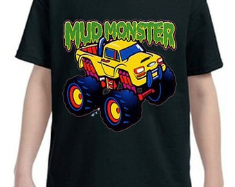 Mud Monster Truck  kids T-shirt, Childrens Tee Shirt, Custom Graphic Tee Shirts, Kids Clothing
