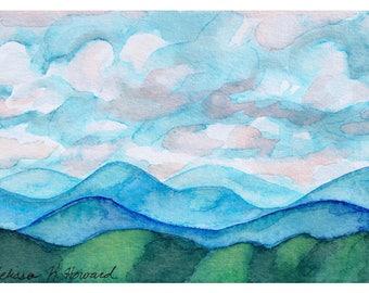 Original Watercolor - Mountain Landscape 010