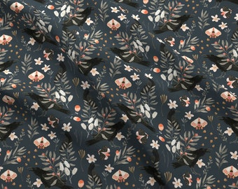 Black Crows And Butterflies Fabric - Black Crows And Butterflies By Katherine Quinn - Crow Floral Cotton Fabric By The Yard With Spoonflower