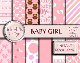 "Baby Girl Digital Paper Pack for Scrapbooking, ""BABY GIRL"" pink, bows,teddy, baby stork paper,polka dot,baby feet,high resolution,Design #40"