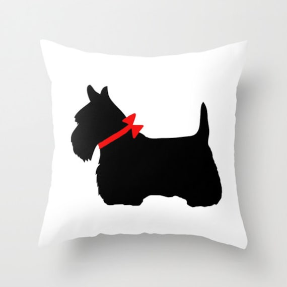 Scottie Dog Throw Pillow, Scotty Dog Pillow, Black Dog Pillow, Decorative Pillow, Cute Home Decor, Cute Pillow, Red Bow, Pet, Dorm, Office