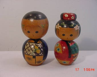 Vintage Set Of 2 Japanese Wood Bobblehead Figurines  17 - 993
