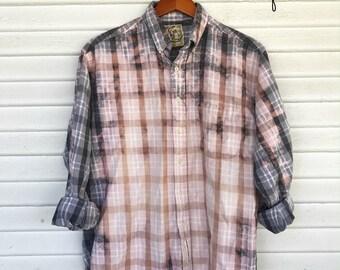 MEDIUM - Flannel Shirt - Bleached - Vintage Washed Flannel - Oversized Flannel - Distressed Flannel - Plaid Shirt - Fall Shirt - #105 BM