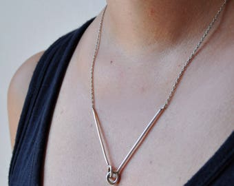 V necklace chevron necklace in sterling silver links necklace minimal necklace geometric necklace minimal jewelry - amejewels
